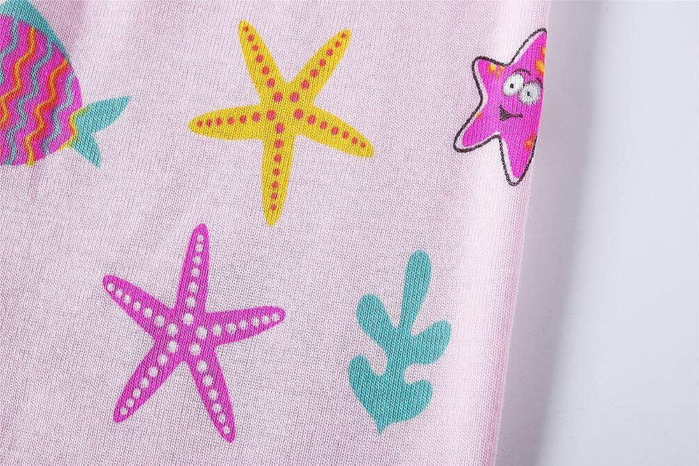 Vibom Girls Unicorn Long Sleeve Cotton Pyjamas Sets Nightwear Sleepwear 2 Packs Xmas Gift for Kids