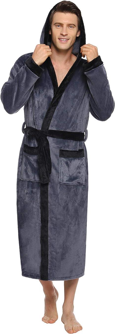 Herren Morgenmantel Kuschelfleece Fleece Bademantel 2 Taschen Flauschig 100/% Polyester G/ürtel und Aufh/ängeschlaufe Twinzen mit Kapuze Oeko TEX Medium, Dunkelblau