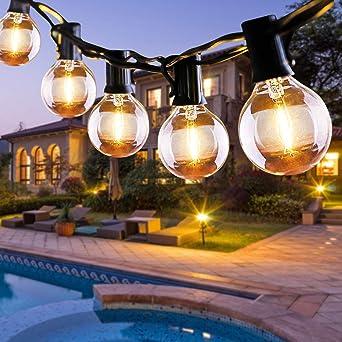 Guirnalda Luces Exterior Solar, QXMCOV 15.2 m Cadena de Luz 50 G40 LED Bombillas con 4 de Carga, Guirnaldas Luminosas Exterior e Interior Decorativas para Jardin Terraza Habitacion Fiestas Navidad: Amazon.es: Iluminación