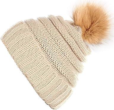 SIGGI Womens Slouch Beanie Pom Pom Hat Winter Knit Bobble Hats Fleece Lined Ladies Girls