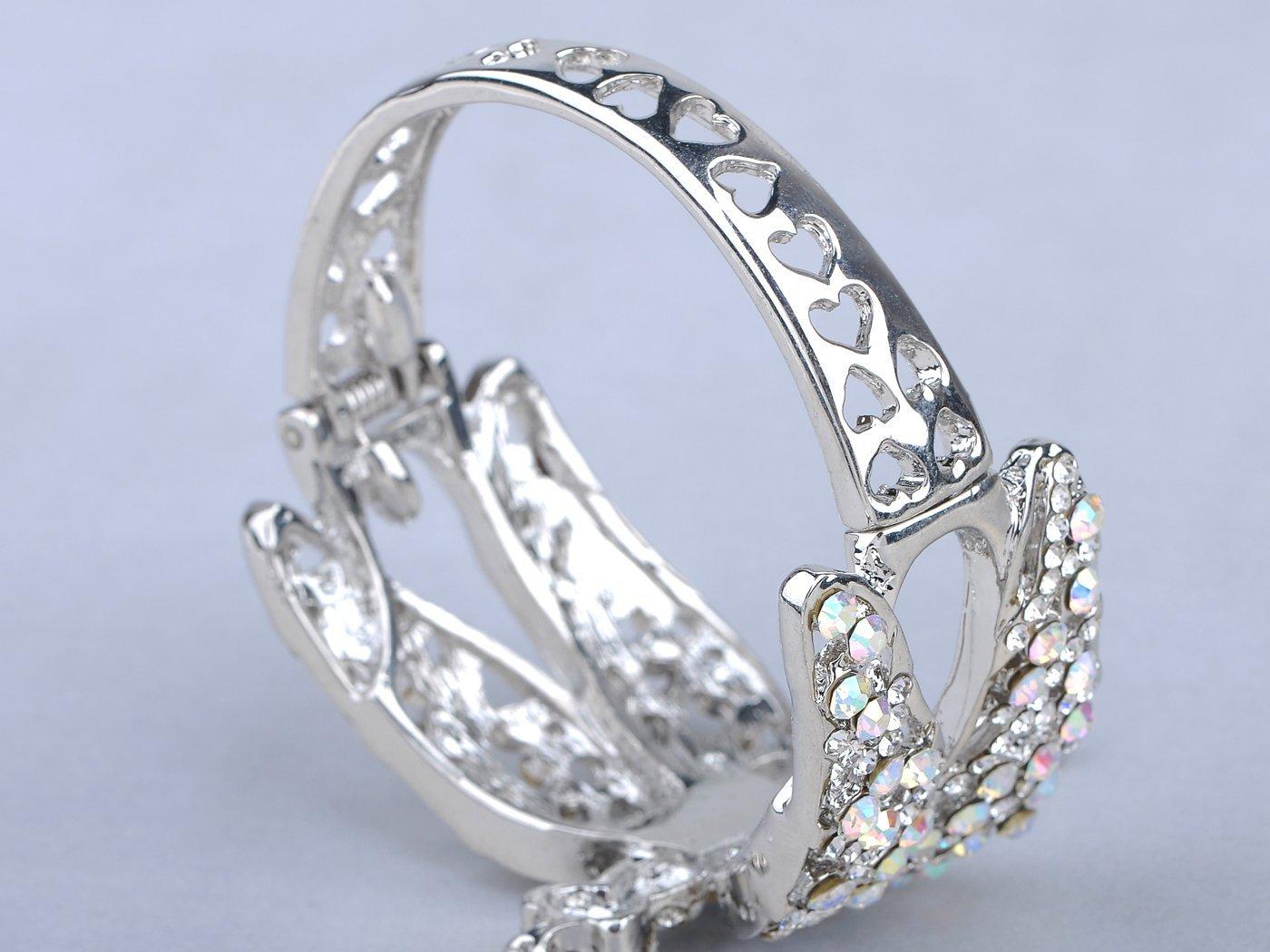 Alilang Womens Silvery Tone Clear Rhinestones Dragonfly Heart Cutout Bangle Bracelet by Alilang (Image #5)