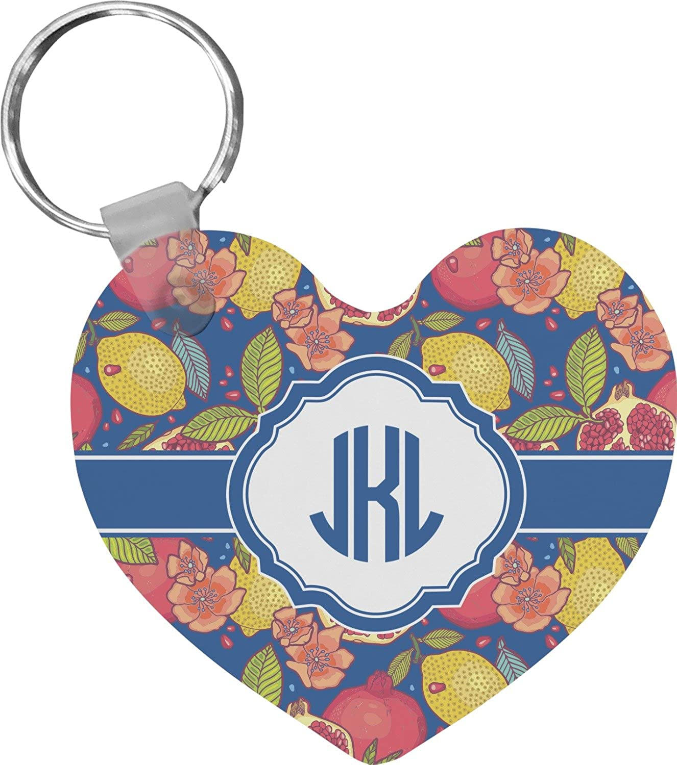 Pomegranates & Lemons Heart Keychain (Personalized)