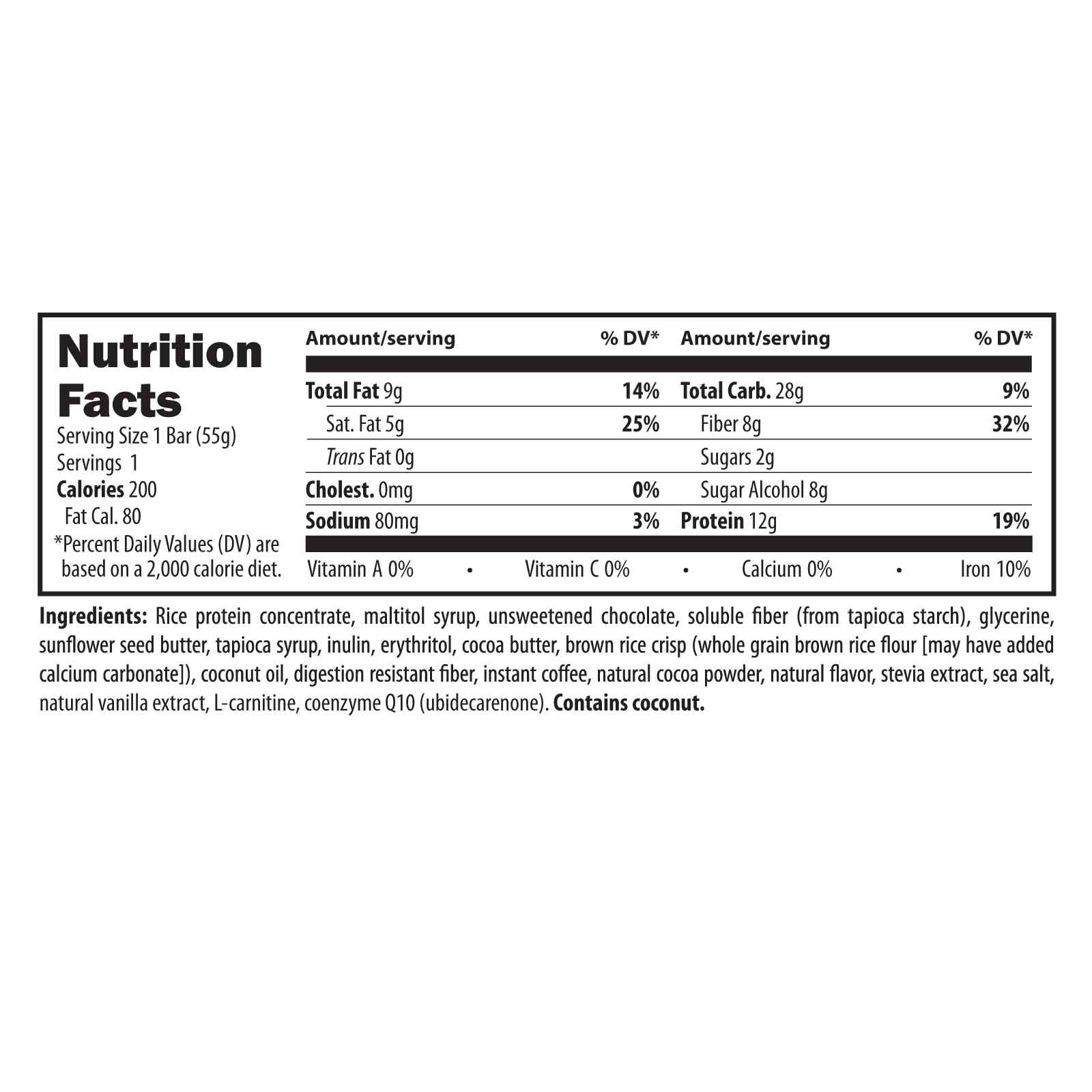 Designs for Health MochaNRG DF - Vegan-Friendly Rice Protein Fiber Bars in Mocha with 8 Net Carbs + 12 Grams Protein, Dairy-Free Energy Support Bar with Carnitine + CoQ10 (12 Bars) by designs for health (Image #2)