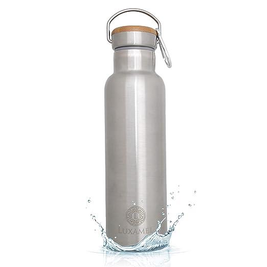 Botella de agua Luxamel de 750 ml con aislamiento de acero inoxidable, botella de agua de doble pared de acero inoxidable y botella de termo - 24 ...