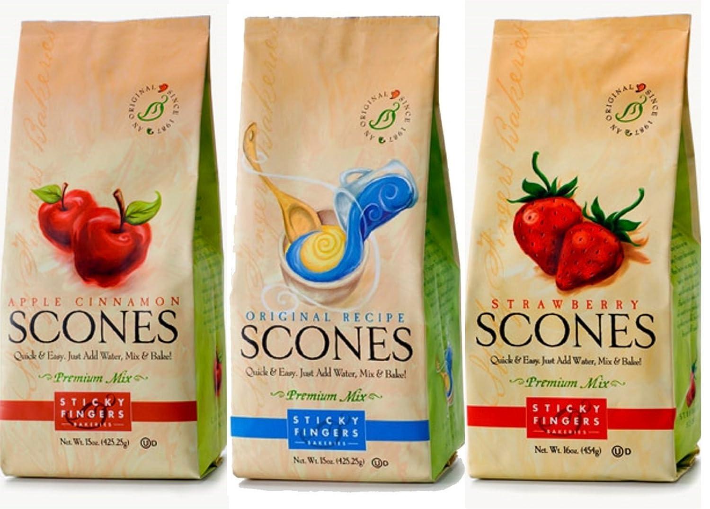 Sticky Fingers Premium All Natural Scone Mix Trio Bundle (Strawberry, Original, Apple Cinnamon)
