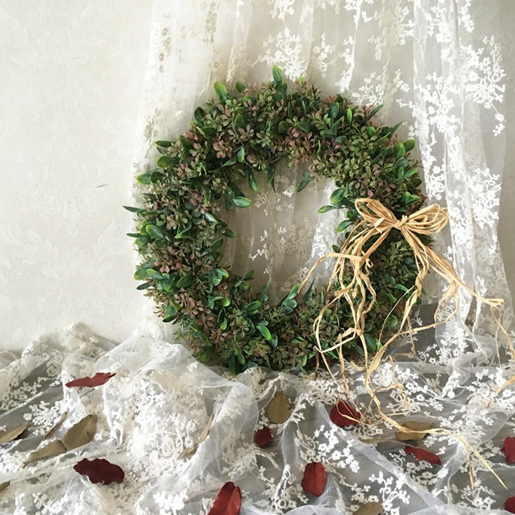 Adeeing 15 Inches Artificial Green Leaf Wreath with Bow Door Hanging Wall Window Decoration Holiday Festival Wedding Decor, Style C