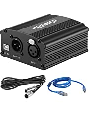 Neewer 1-Channel 48V Phantom Power Supply with 5 feet USB Cable, Bonus+XLR 3 Pin Microphone Cable for Any Condenser Microphone Music Recording Equipment