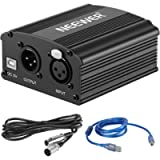 Neewer 1-Channel 48V Phantom Power Supply with 5 feet USB Cable, BONUS+XLR 3 Pin Microphone Cable for Any Condenser…
