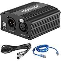 Neewer Phantom Power Kit Includes:1-Channel 48V Phantom Power Supply with Adapter and XLR Audio Cable for Any Condenser Microphone Music Recording Equipment (Black)