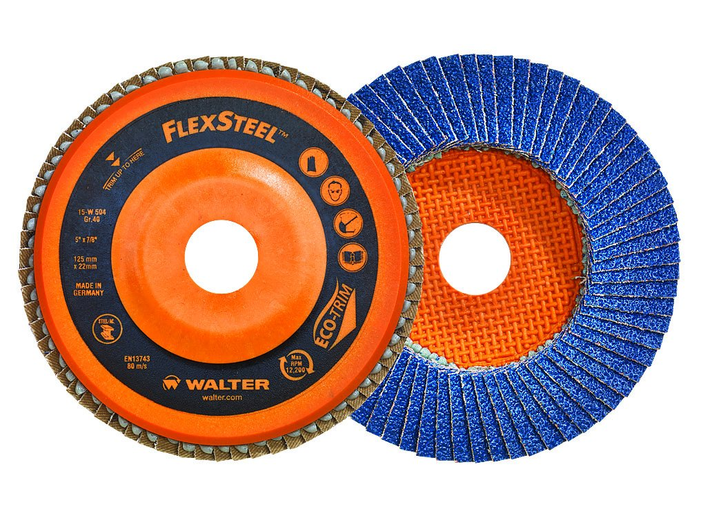 Walter 15W454 Flexsteel High Performance Flap Disc [Pack of 10] – 40 Grit Grinding Disc for 4.5 in. Angle Grinders. Blending & Finishing Disc