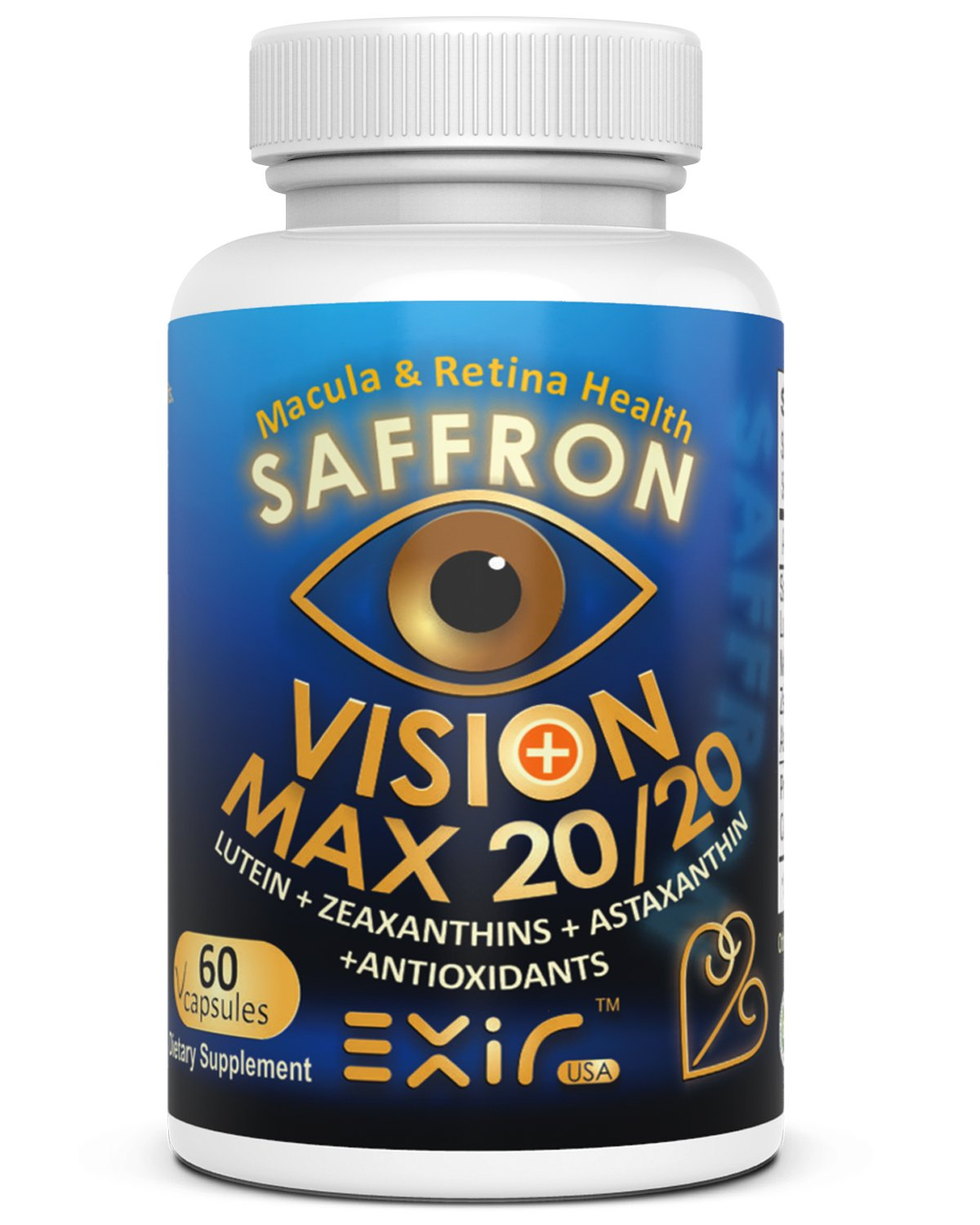 Vision Max 20/20 For Vision & Macula Health & Overall Wellness | High Potency Carotenoids Saffron, Lutein Meso-Zeaxanthin Zeaxanthins Astaxanthin Proanthocyanidins Curcuminoids 60 Capsules