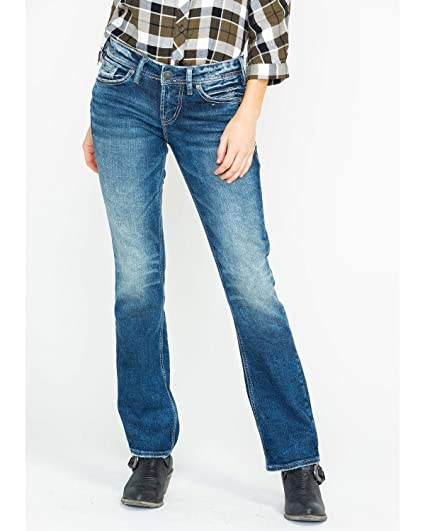 15ff45fb337 Silver Jeans Co. Women's Suki Curvy Fit Mid Rise Slim Bootcut Jeans, Medium  Sandblast