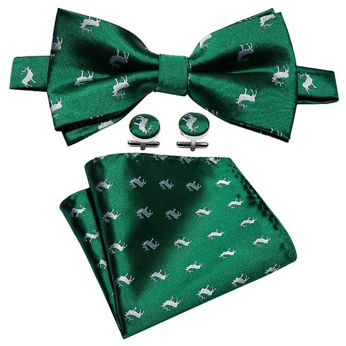 HYCZJH Corbatín Verde para Hombre de Navidad para Fiesta Pañuelo ...