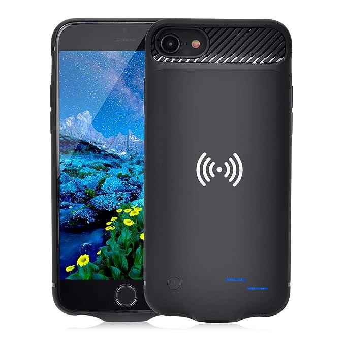 Qi Akku Hülle für iPhone 6 6S 7 8, 3800mAh Tragbare Drahtlos Ladebatterie Zusatzakku Externe Handyhülle Batterie Wiederauflad