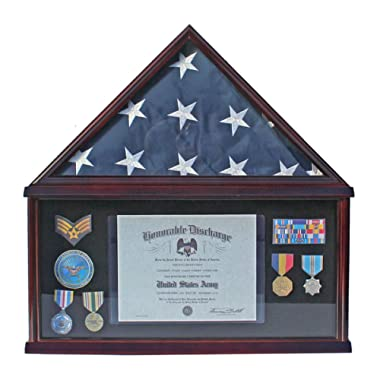 Military Shadow Box Frame Memorial Burial Funeral Flag Display Case for 5' X 9.5' Flag, Mahogany Finish, Solid Wood (FC07-MA)