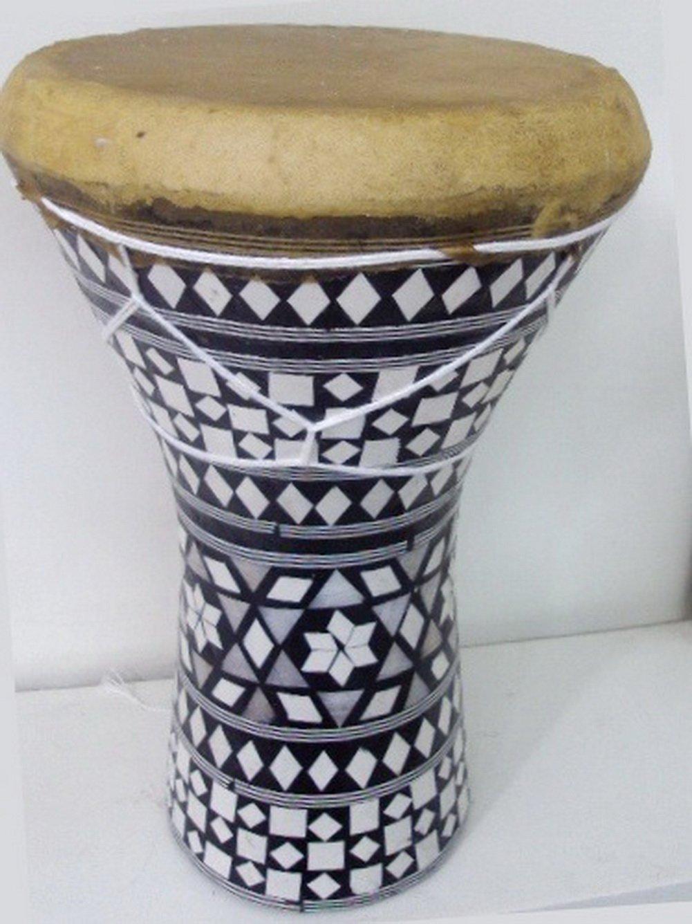 1PCS Large Egyptian Wooden Tabla Drum Doumbek Goat Skin Inlaid Handmade 11''