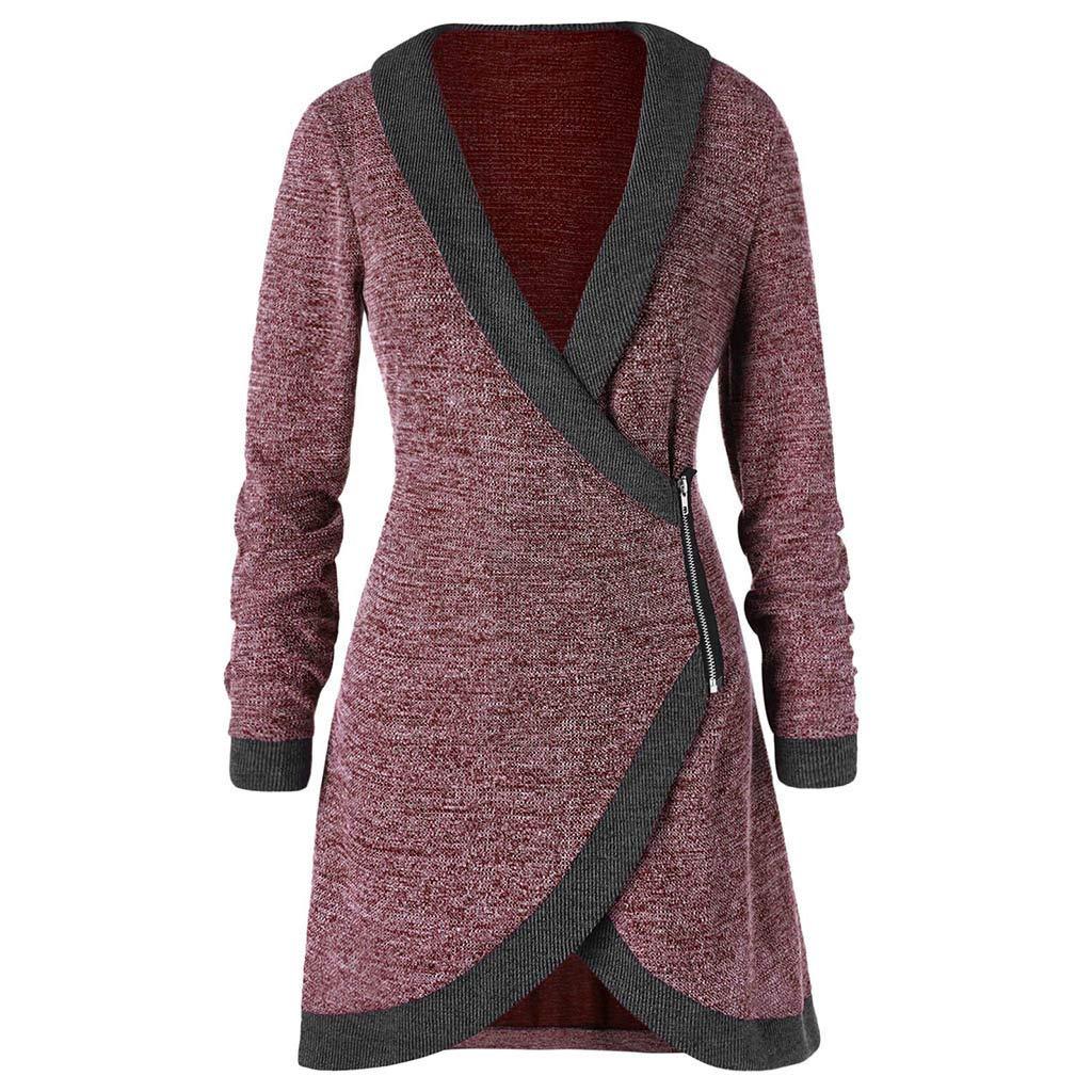 TWGONE Cardigan Sweaters for Women Long Sleeve Knitted Long Coat V Neck Contrast Trim Side Zipper Outwear 2019 02 11