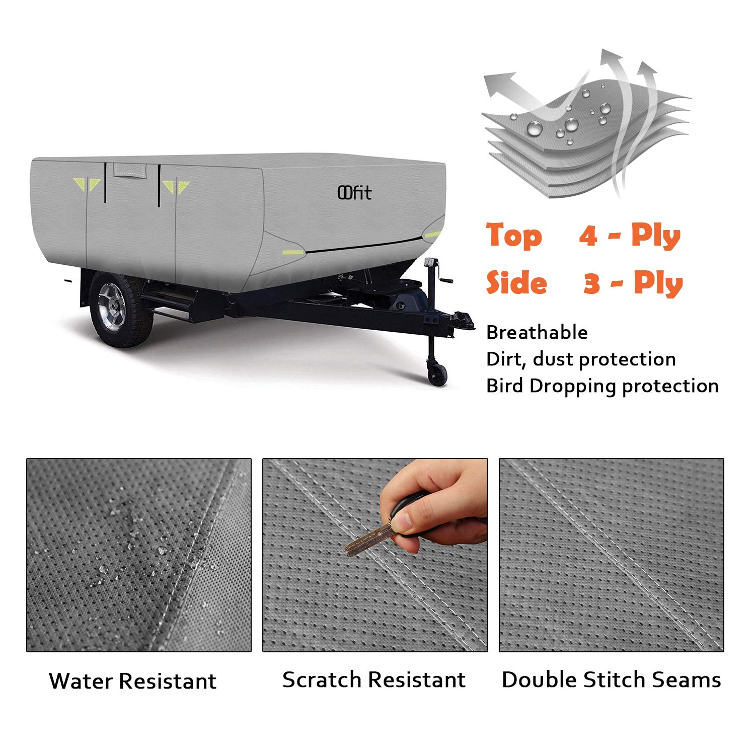 OOFIT 4 Layers Pop-up Camper Cover 12' – 14' Rip-Stop Anti-UV Folding Camper Trailer RV Cover with Adhesive Repair Patch by OOFIT (Image #3)