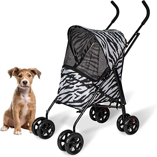 Kinsuite Pet Strollers for Small Dogs Folding Portable Travel Carrier Pet Cart with Wheels Easy to Walk