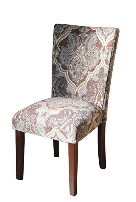 Paisley Fabric Dining Room Chairs Add Style To Your Dining Room Furniture.  A Straight Back