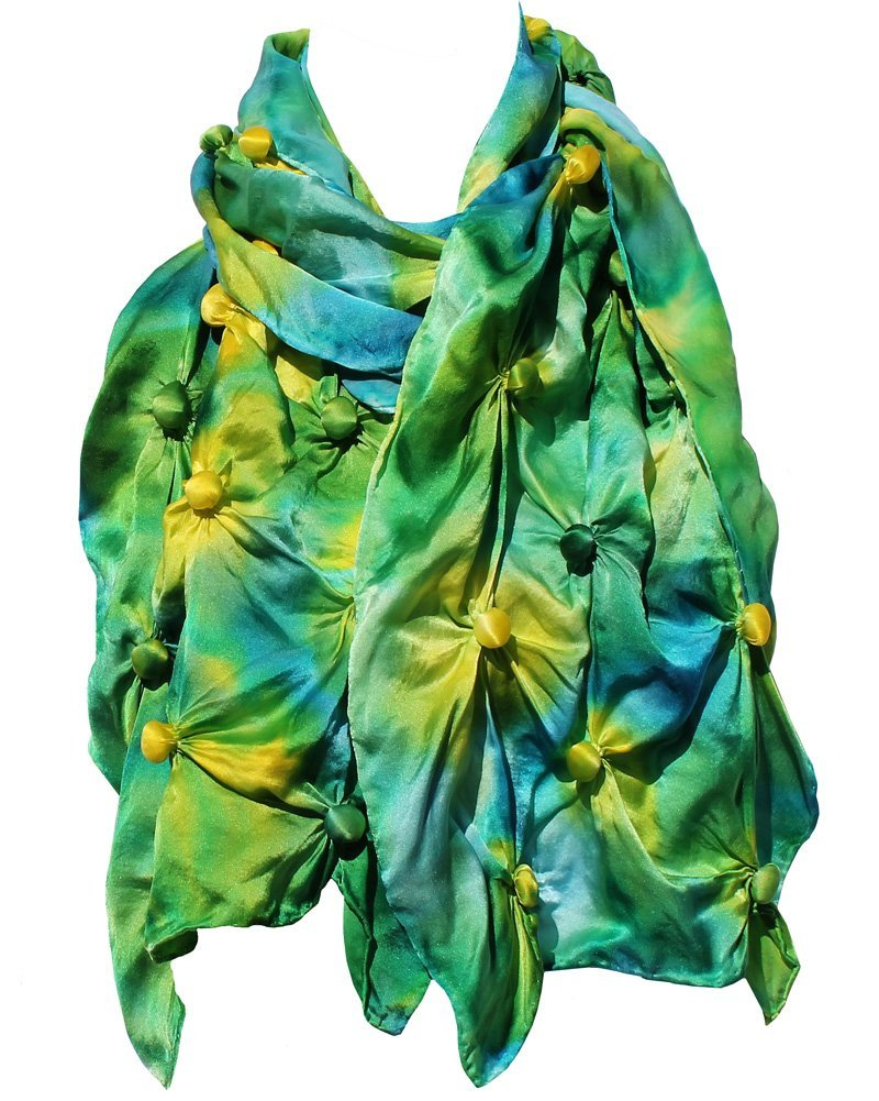 Bubble Shibori Silk Scarf Hand Painted in Yellow, Greens and Blues