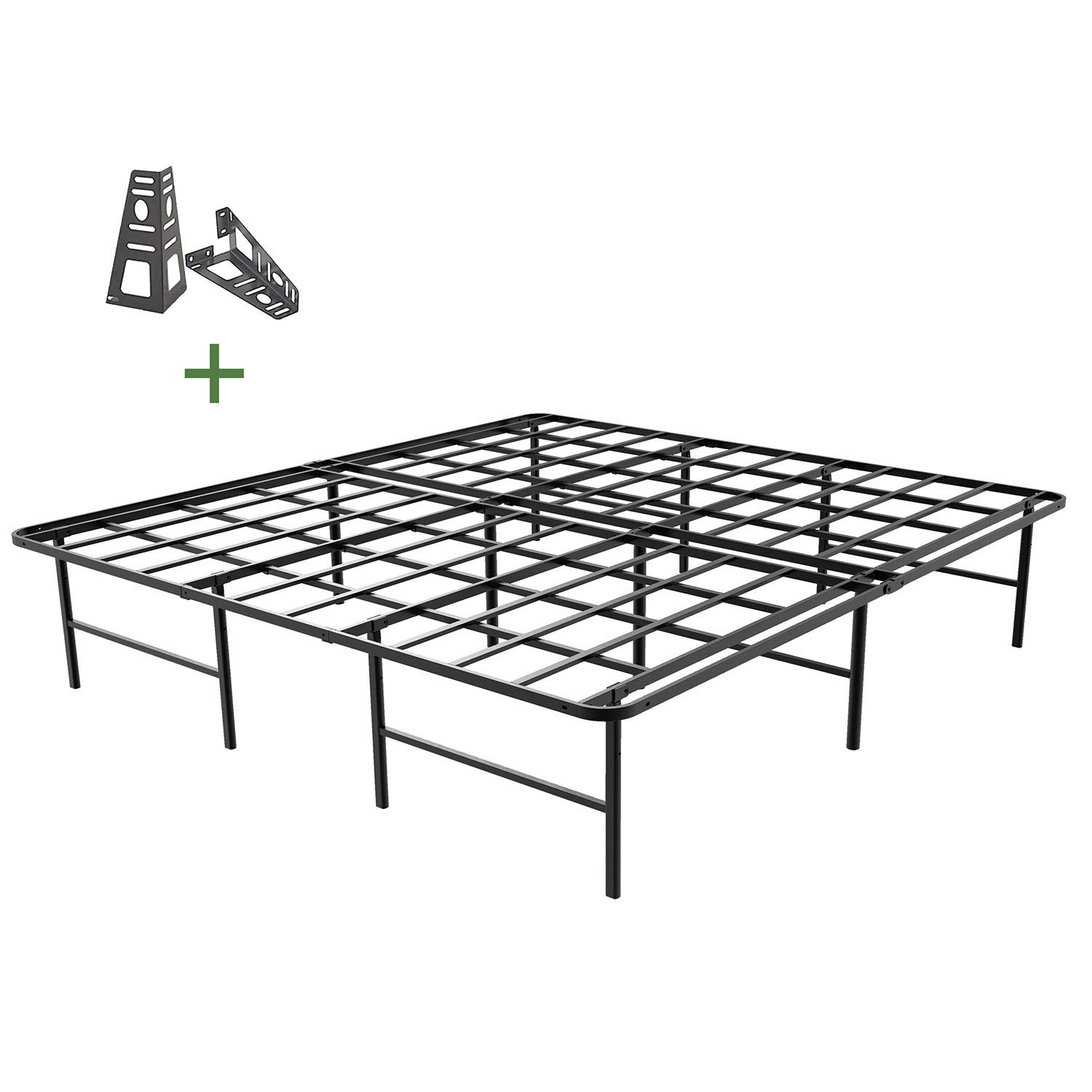45MinST 16 Inch Platform Bed Frame 2 Brackets Included Mattress Foundation 3000LBS Heavy Duty Extremely Easy Assembly Box Spring Replacement Quiet Noise-Free, Twin XL Full Queen King Cal King King