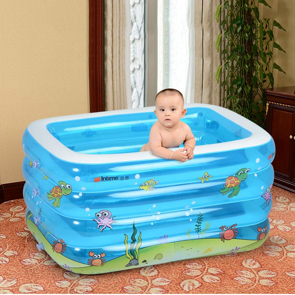 Ying Bathtub Transparent Blue Baby Inflatable Swimming Pool Infant Young Child Children Thickening Newborn Bath Tub Cartoon Ocean Home Bathroom Supplies