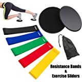Rantizon Resistance Bands and Sliders Gliding Discs Core Sliders and Exercise Resistance Bands, Set of 5 Natural Latex Workout Bands,Abdominal Exercise Equipment, Gym/Fitness/Stretch/Yoga/Pilates
