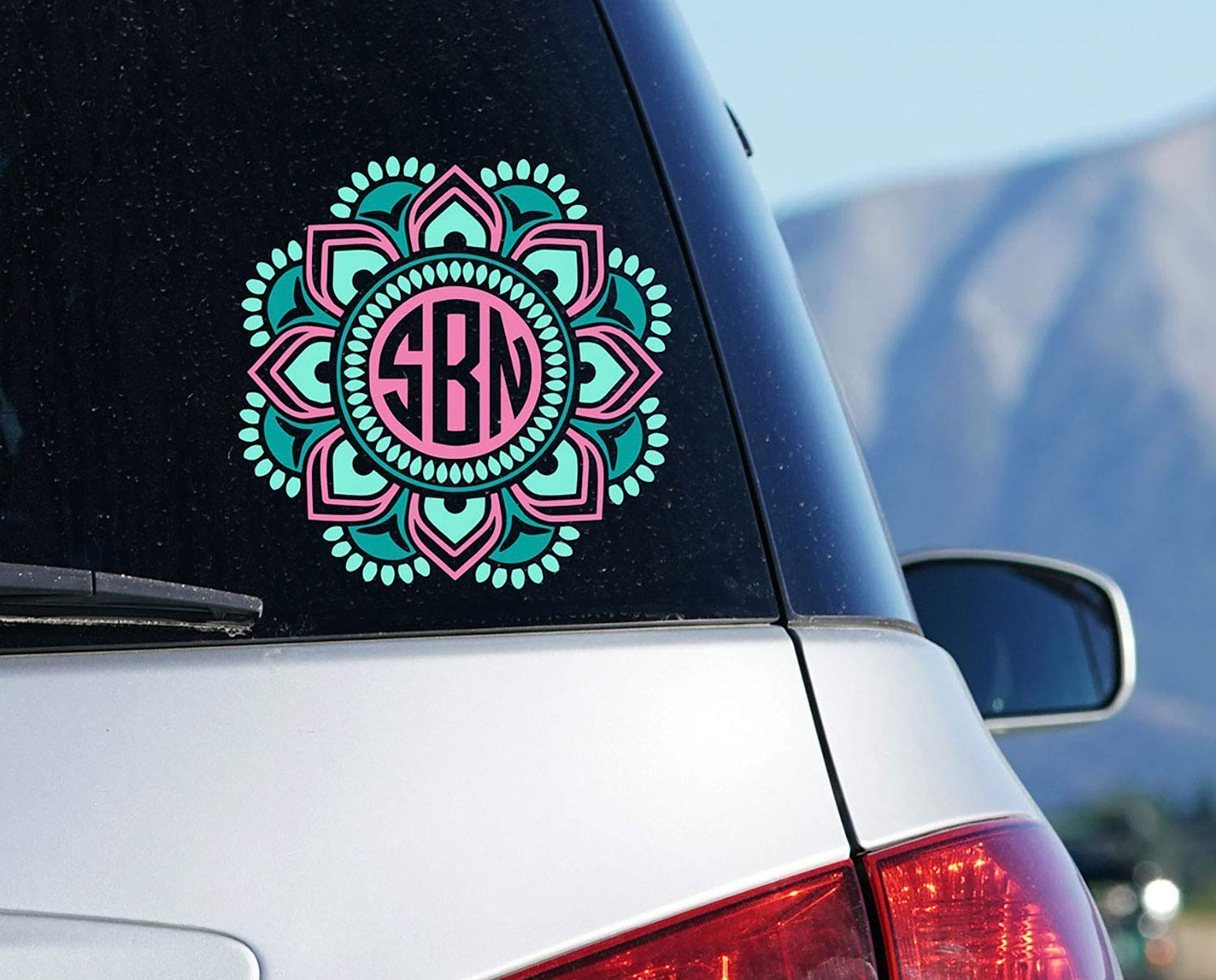 Mandala Monogram Car Decal, Custom Boho Sticker for Window, Your Choice of Size and Colors