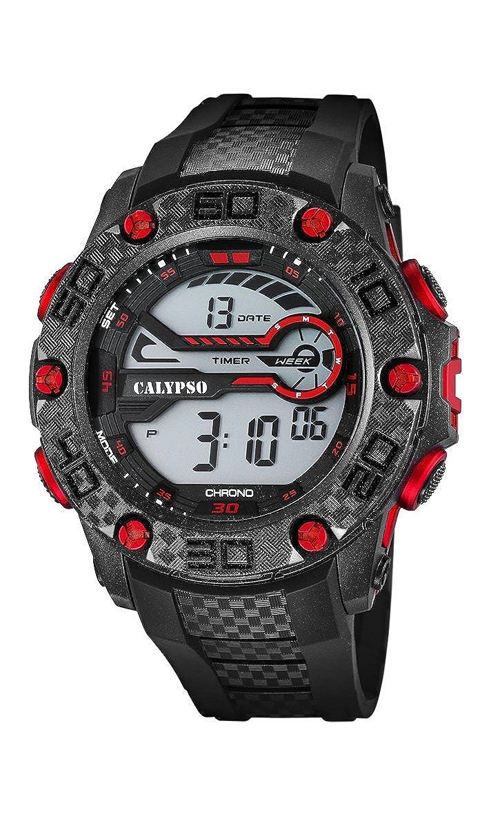 Calypso–Reloj Digital Unisex con LCD Pantalla Digital Dial y Correa de plástico en Color Negro k5691/5