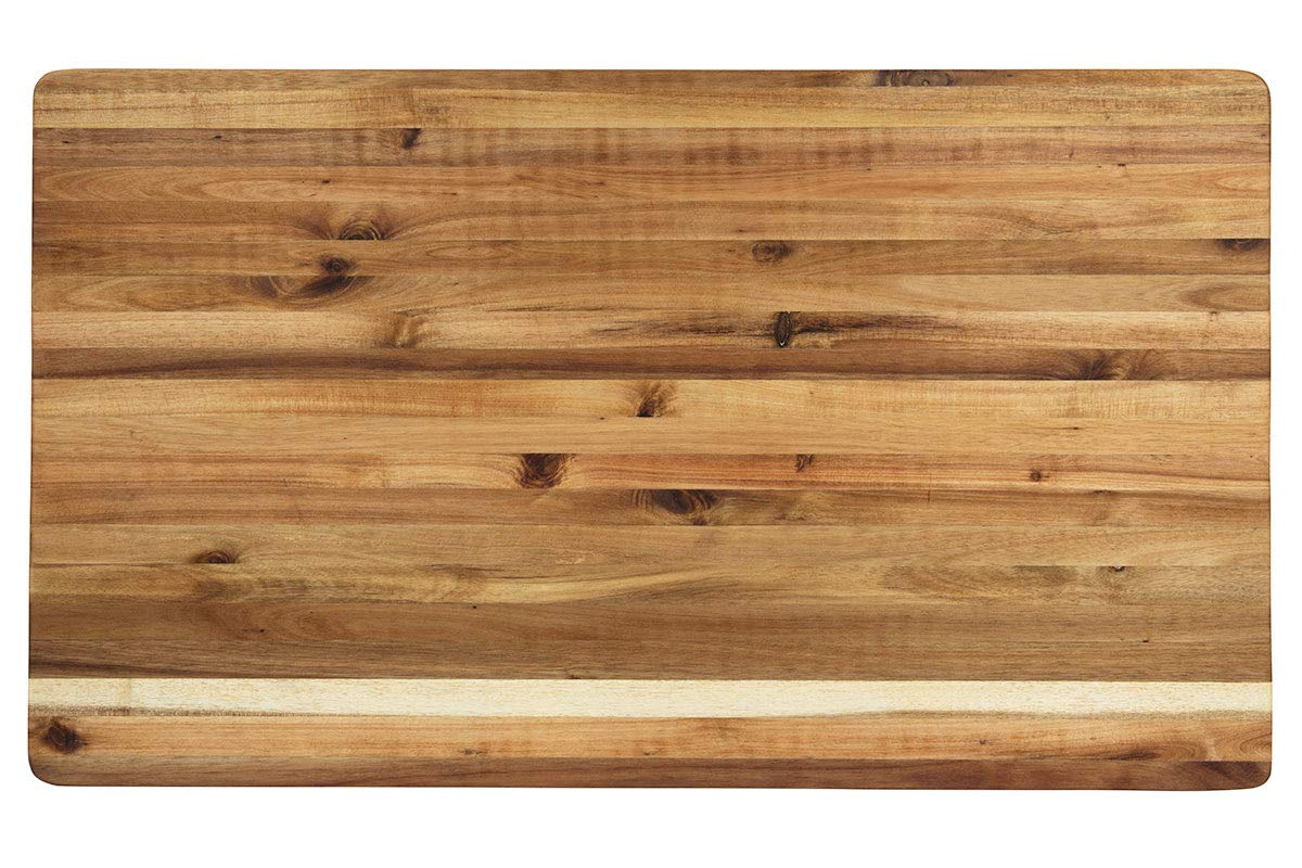 Villa Acacia Extra Large Wood Cutting Board 30x18-1.5'' Thick with Premium Edge Grain Construction