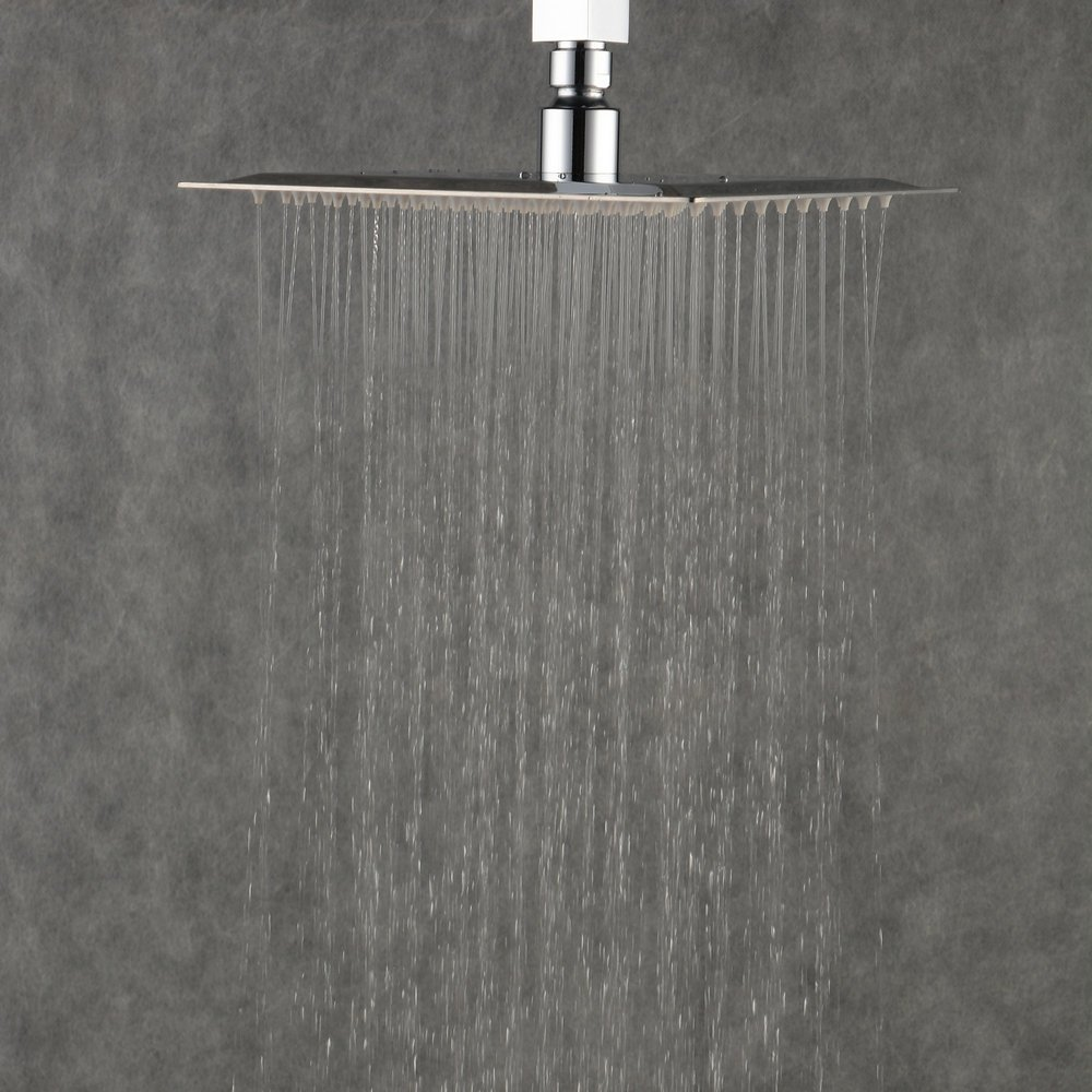 Stainless Steel High Pressure Shower Head with Polish Chrome Finish BLS316CB Bela Beelee Rain Showerhead 16 Inch Large Square Ultra Thin Waterfall Full Body Coverage with Silicone Nozzle,Black Color