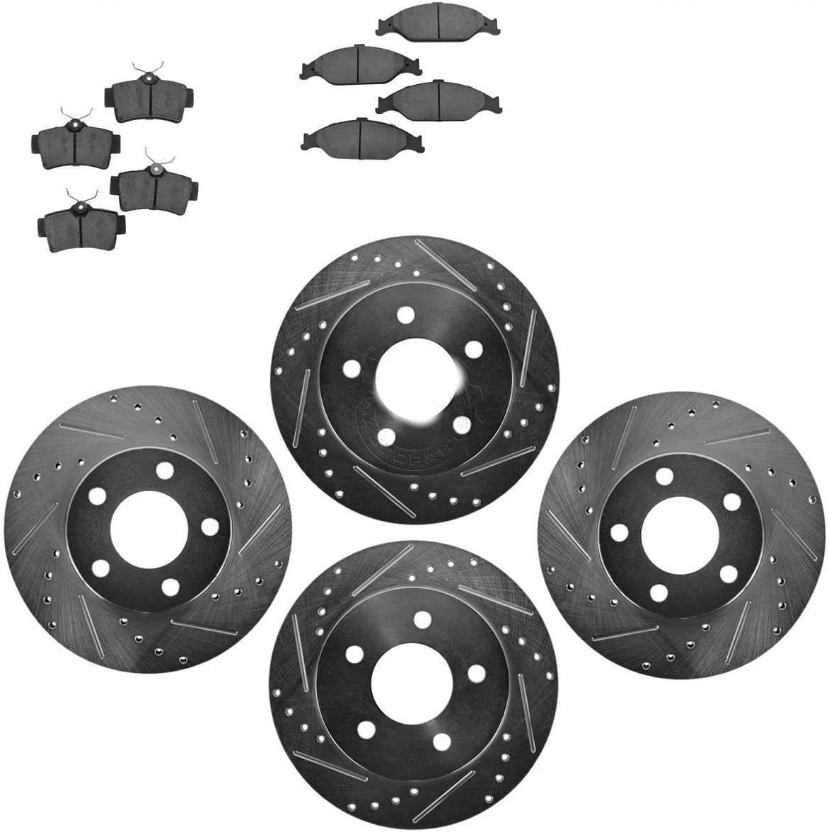 Nakamoto Posi Ceramic Disc Brake Pads /& E-Coated Rotor Set Rear for Lexus Toyota