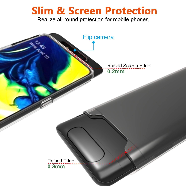 AILRINNI Coque pour Samsung A80 + Verre trempé Protection écran, Souple Etui Transparente Silicone TPU Bumper Housse de Protection pour Samsung Galaxy A80 2019