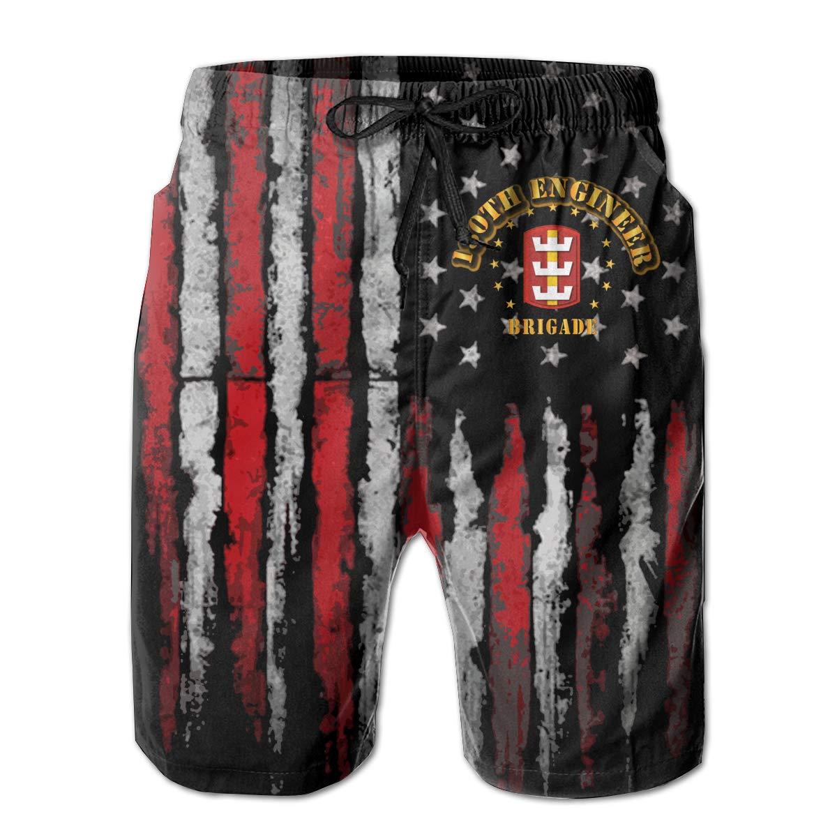 SSANSKKE 130th Engineer Brigade Mens Quick Dry Swim Trunks Beach Shorts