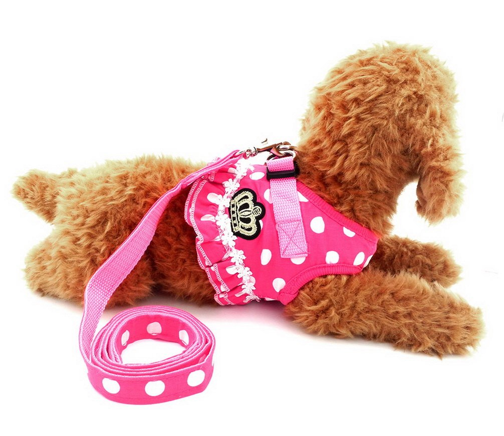 Ranphy Crown Patch Toy Dog Cat Vest Harness Dots Pattern Girl Padded Dog Harness and Leads Eco-Friendly with Quick Release For Puppies Pink M