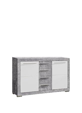 Newface Sideboard Holz Beton Optik Weiss Glanz 152 20 X 43 60 X