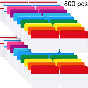 800 Pieces File Tabs Sticky Index Tabs, Writable and Repositionable Filing Tabs Flags for Pages or Book Markers, Reading Notes, Classify Files, 40 Sets (10 Colors, 2 Inch)