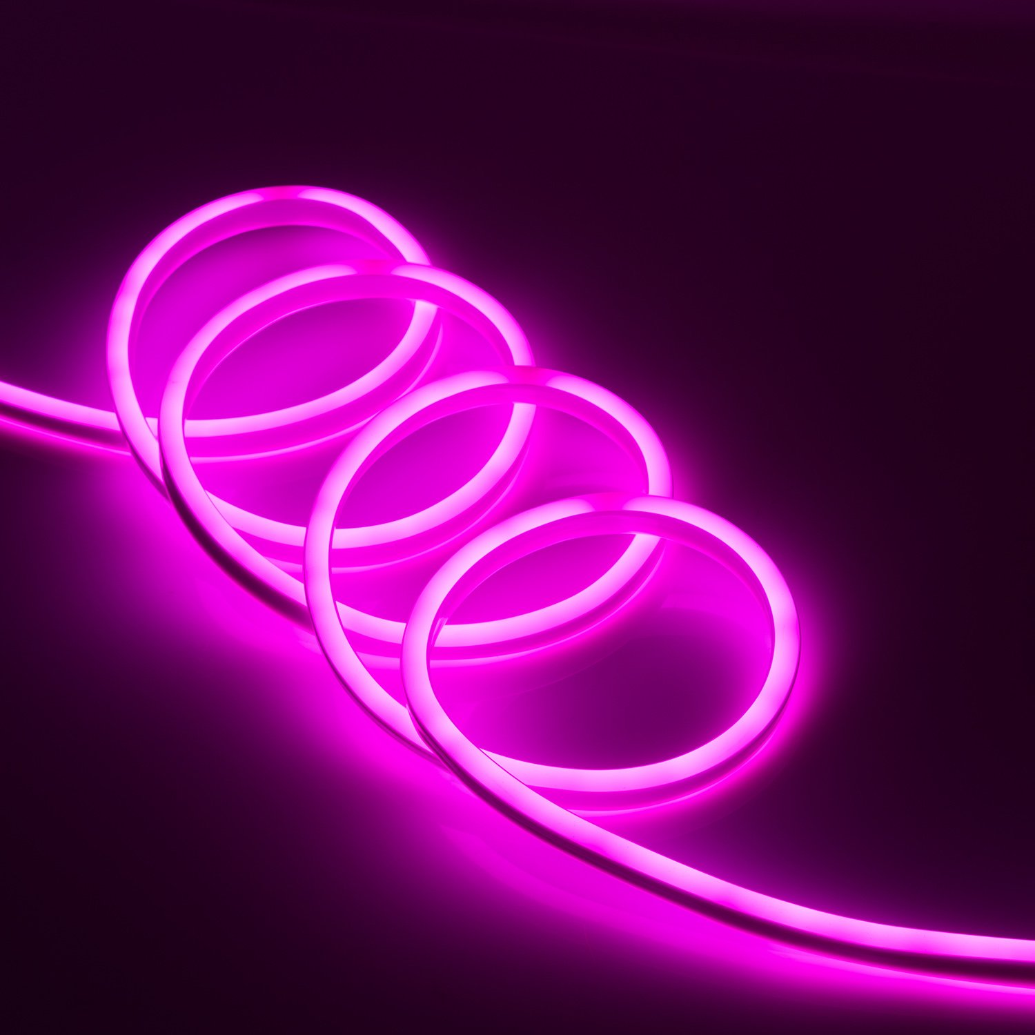 WYZworks Pink Flexible Waterproof Soft Double Side LED Neon Rope Light Strip Bar 50FT