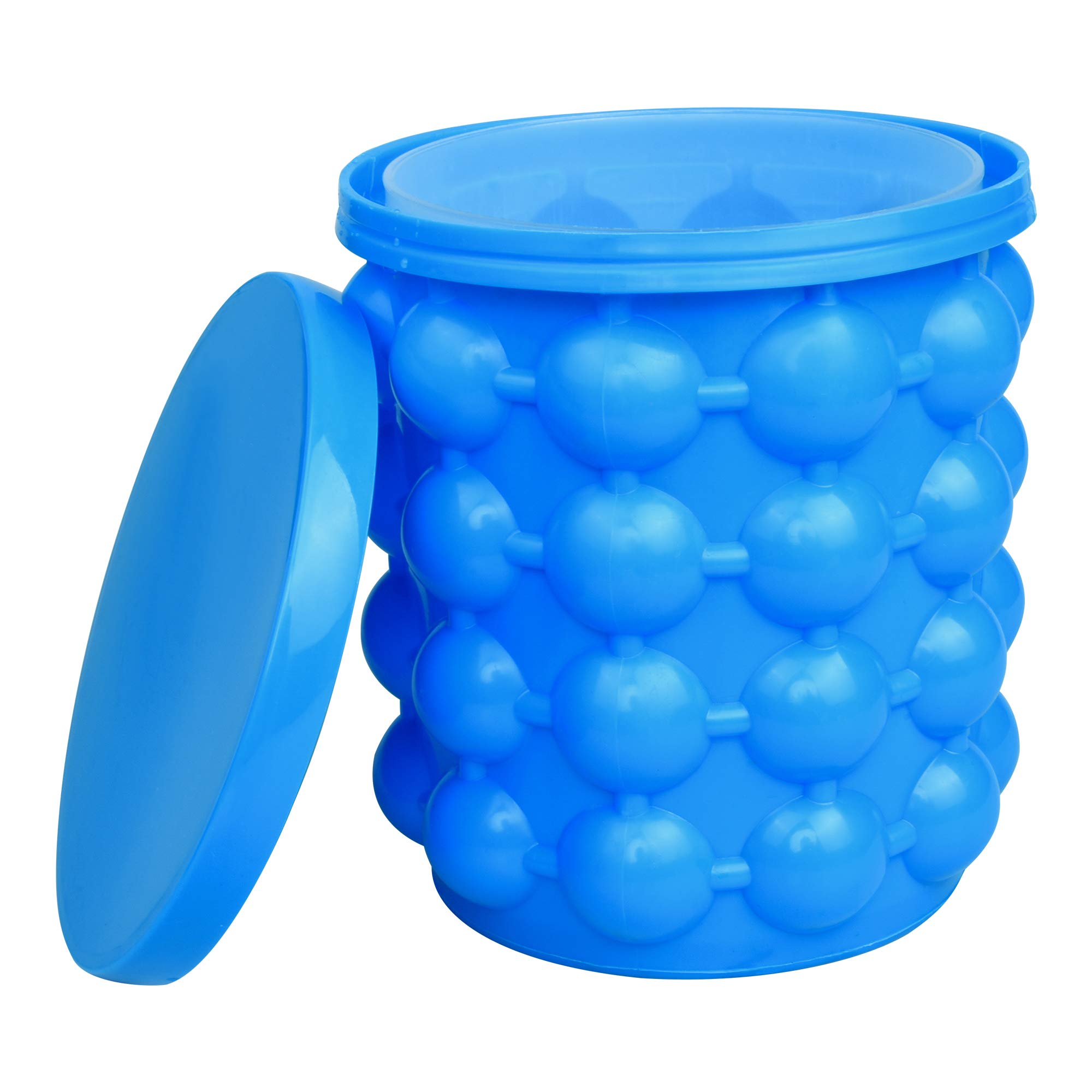 Ice Bucket,Large Silicone Ice Bucket & Ice Mold with lid, (2 in 1)Space Saving Ice Cube Maker, Silicon Ice Cube Maker beijimaoyi, Portable Silicon Ice Cube Maker