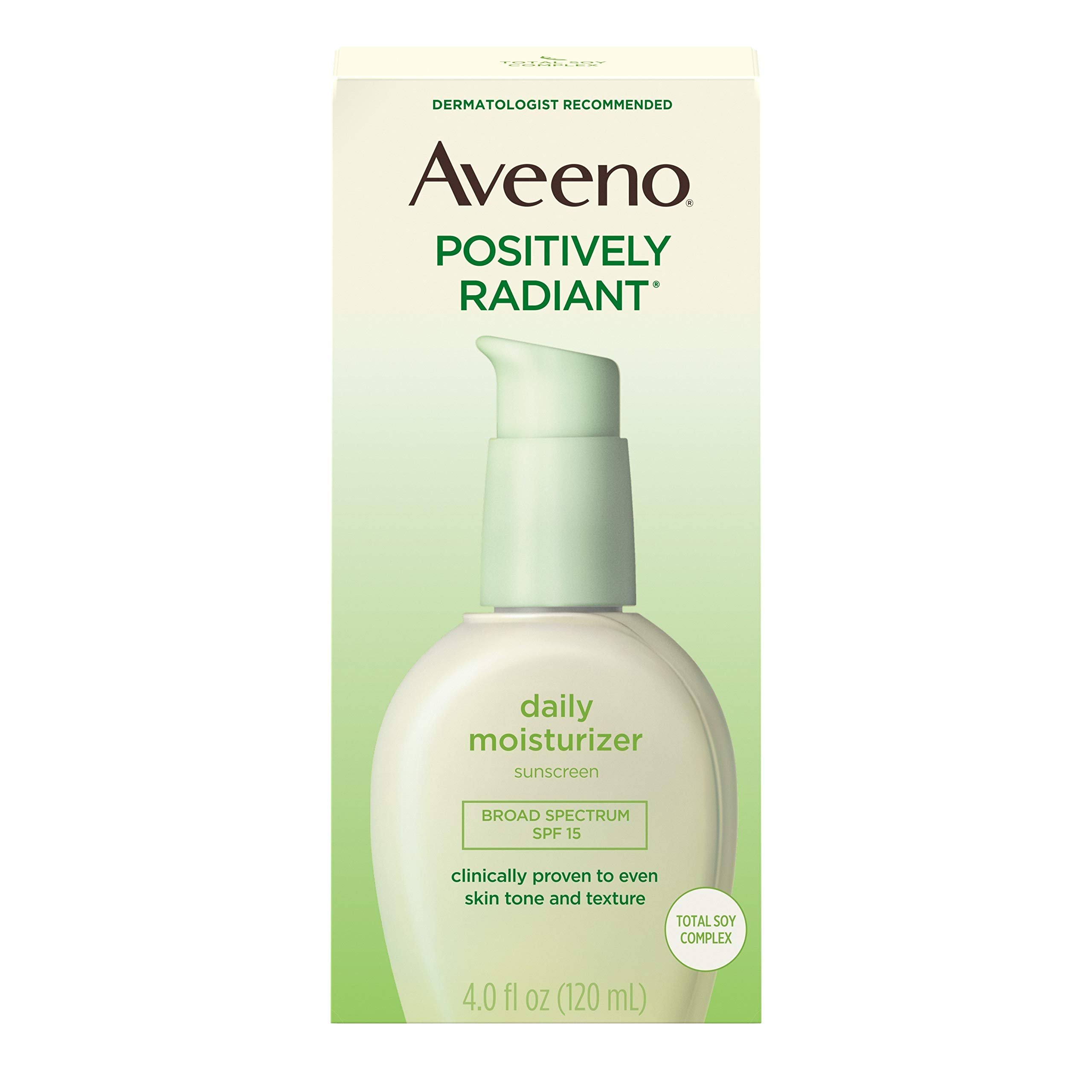 Aveeno Positively Radiant Daily Face Moisturizer with Broad Spectrum SPF 15 Sunscreen and Soy Extract, 4 fl. oz by Aveeno