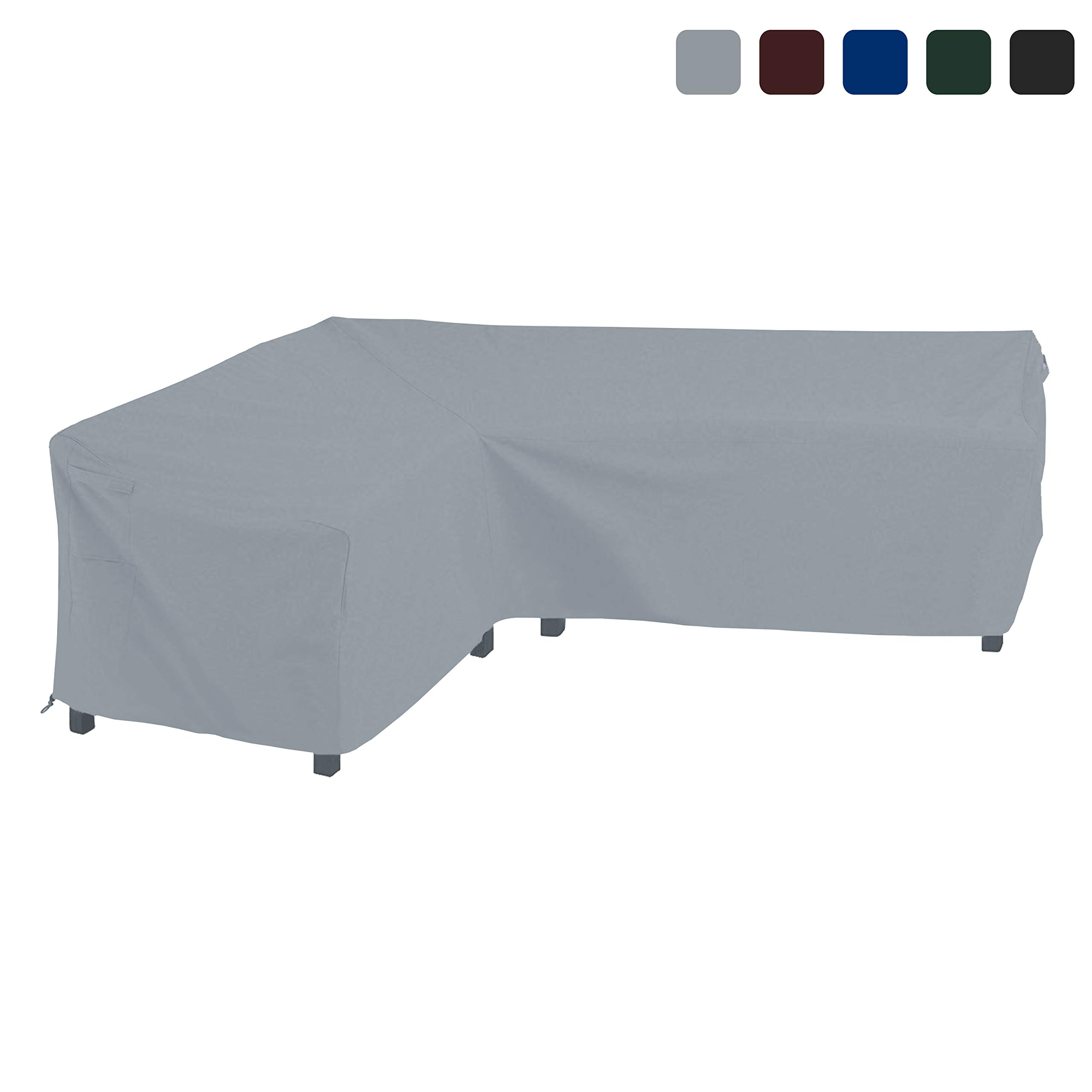 COVERS & ALL Patio Sectional Sofa Cover 18 Oz Waterproof - 100% UV & Weather Resistant PVC Coated 90'' x 120'' x 33''D x 35'' H - L Shape Sofa Cover for Indoor/Outdoor (Left Facing Sofa, Grey)