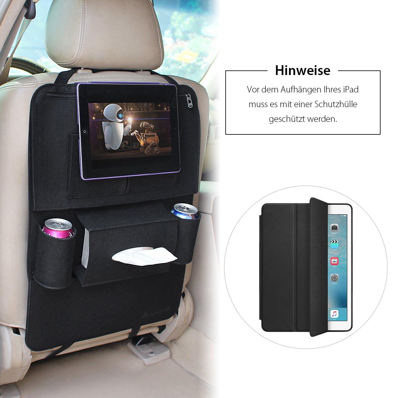 Deposito borse in feltro a forma di seggiolini per auto che consentono lo stoccaggio di scatole e per mantenere iPads Grigio Scatole di stoccaggio per mantenere iPhone e bevande Salcar