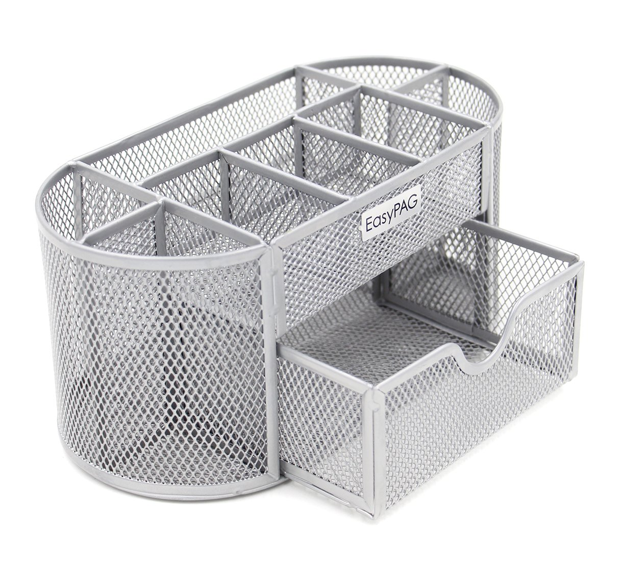 EasyPAG Mesh Office Desk Accessories Organizer 9 Components with Drawer, Silver Baike SYNCHKG080270
