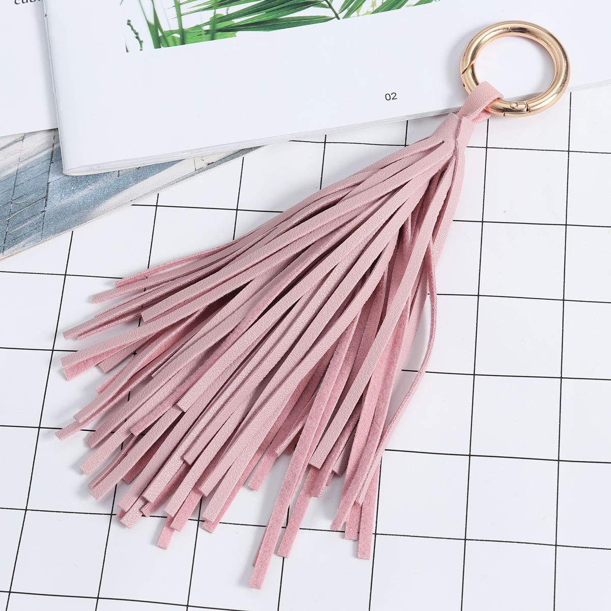 Rose FENICAL PU Cuir Charme Pendentif Pompon pour Porte-cl/és Porte-cl/és Sac /à Main