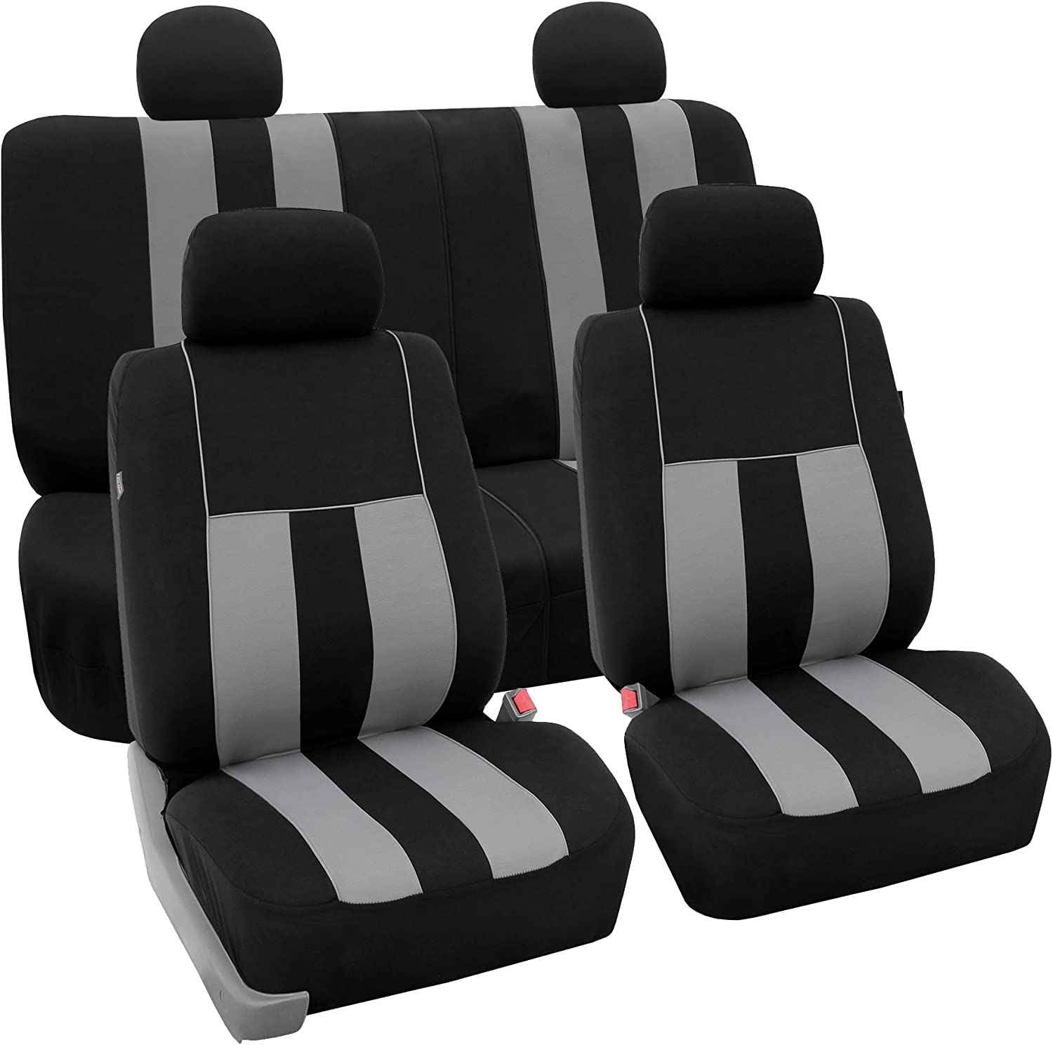 FH Group FB036114 Striking Striped Seat Covers (Gray) Full Set – Universal Fit for Cars Trucks & SUVs