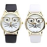 Top Plaza Fashion Women's Platinum Plated Mini Cat Glasses Analog Quartz Watch, PU Leather Strap Gold Tone,Black/White, Pack of 2