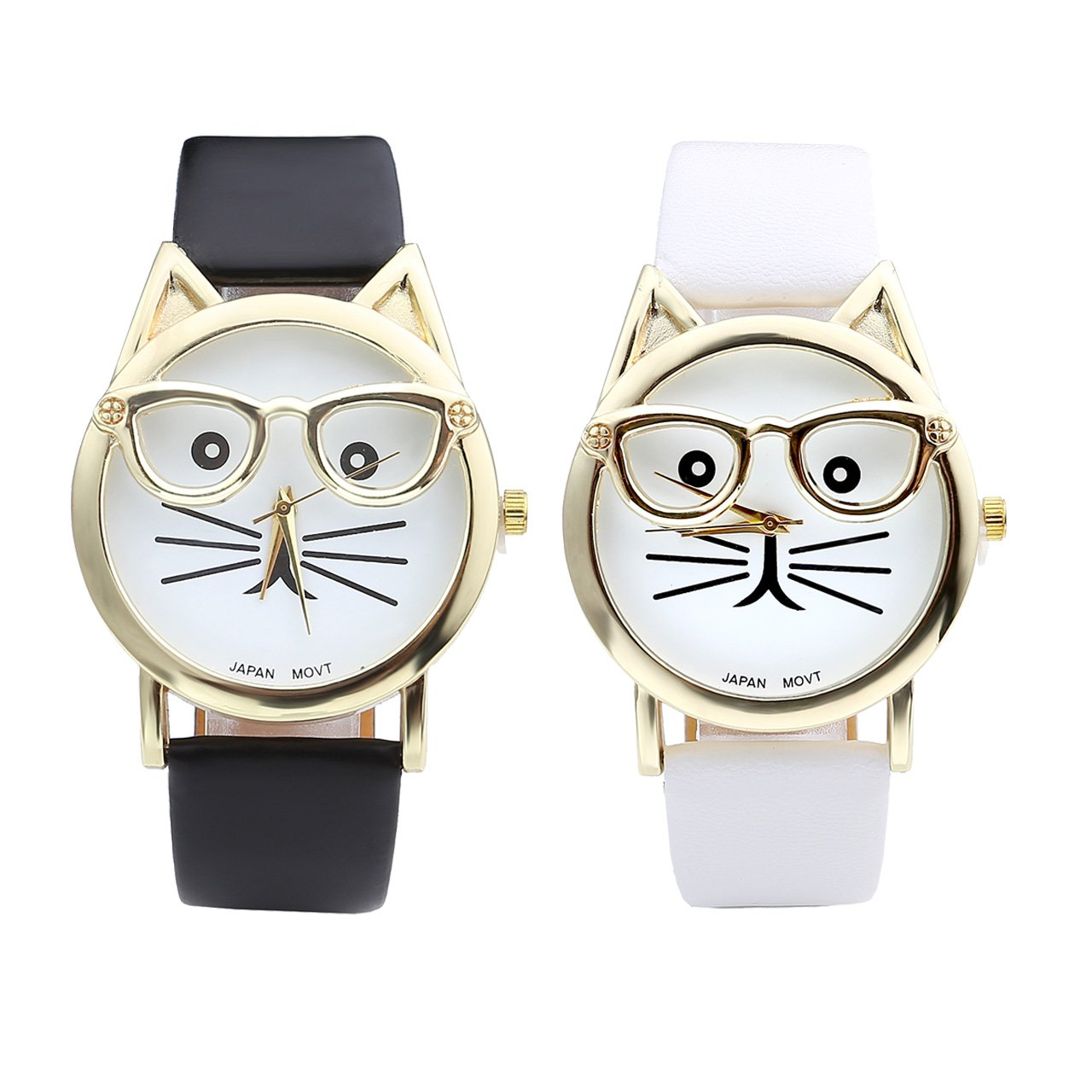 Top Plaza Fashion Women's Platinum Plated Mini Cat Glasses Analog Quartz Watch, PU Leather Strap Gold Tone, Black/White, Pack of 2