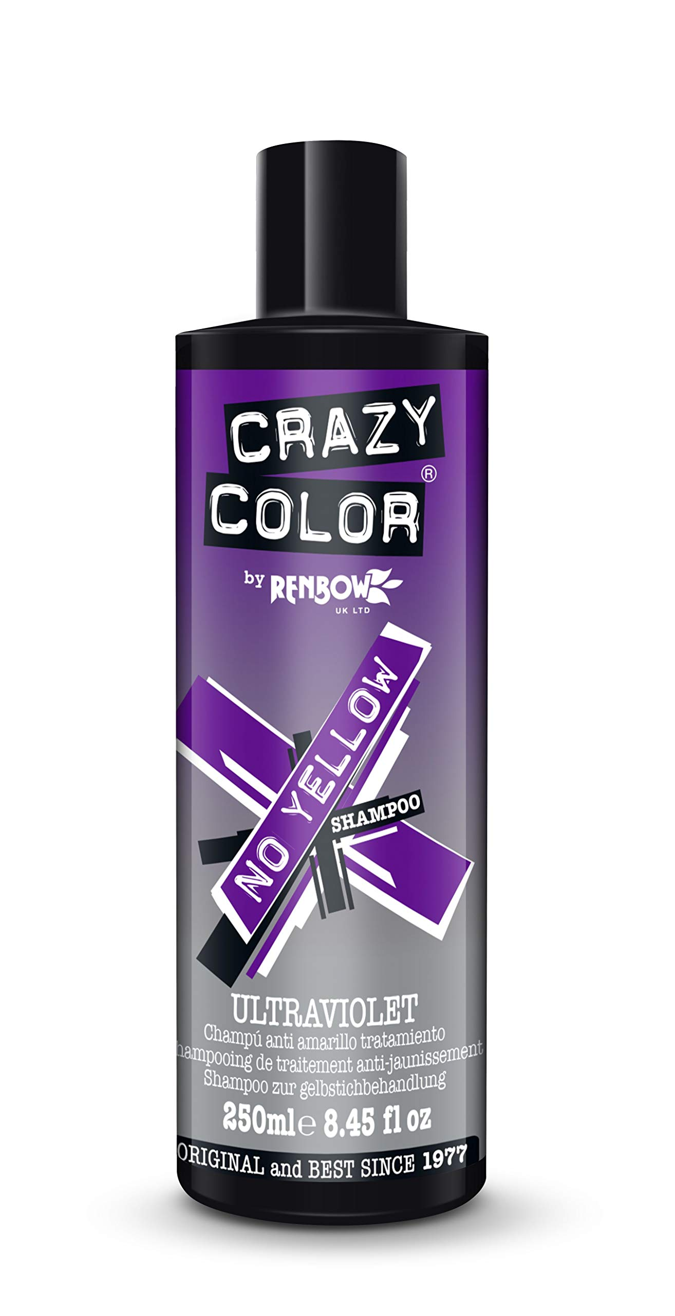 Crazy Color Ultraviolet No Yellow Shampoo - Purple Undertones for Light Blonde Hair - 250ml