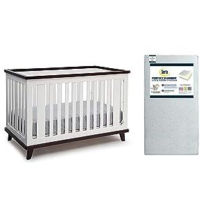 Delta Children Ava 3-in-1 Convertible Crib, White/Black Espresso + Serta Perfect Slumber Dual Sided Recycled Fiber Core Crib and Toddler Mattress (Bundle)